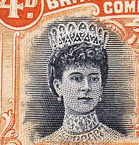 Rhodesia 1910  P15 4d UNLISTED SHADE RSC C WITH RE-ENTRIES TO QUEEN-VF LH OG