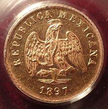 1897-Go R 7/6 Mexico Gold Peso PCGS MS62!