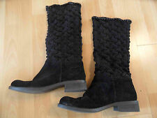 TWIN-SET SIMONA BARBIERI tolle Stiefel m. Strickschaft schwarz Gr. 41 NEUw SJ216