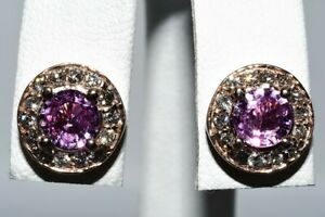 $2,500 1.80CT NATURAL PINK SAPPHIRE & DIAMOND HALO CLUSTER EARRINGS 14K GOLD