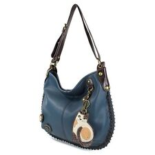 New Chala Hobo Crossbody Large Bag LAZZY CAT Pleather NAVY BLUE Convertible
