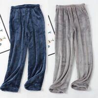 Solid Men's Flannel Fleece Pajama Pants Sleep Bottoms Lounge Trousers Sleepwear