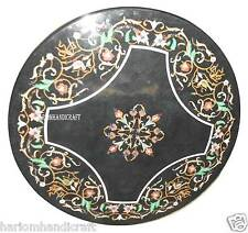 """36"""" Black Marble Dining Round Table Top Marquetry Arts Inlaid Home Decor H2390"""