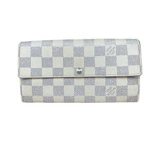 LV3183 LOUIS VUITTON Damier Azur Canvas Leather Sarah Long Envelope Wallet FAST