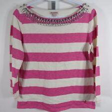 Juicy Couture Shirt Womens Medium M Pink White Stripes Embellished Neck G51