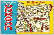 """""""Hello from Scenic Oregon"""" Pictorial Map View Greeting Chrome Postcard Unused"""