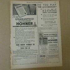 vintage advertise HOHNER ACCORDION The New Verdi III  1930s