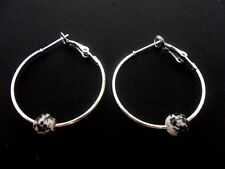 """A PAIR OF SILVER COLOUR 30 MM 1"""" HOOP & PORCELAIN BEAD EARRINGS. NEW."""