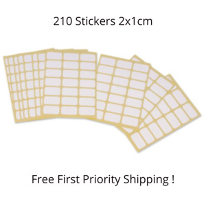 210 PCS OF WHITE PLAIN SELF ADHESIVE LABELS STICKERS 2 X 1 cm