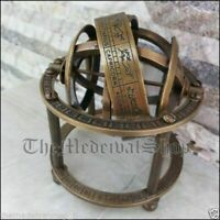 Antique Brass Armillary Sphere Vintage Tabletop Astrolabe Globe Style Gift