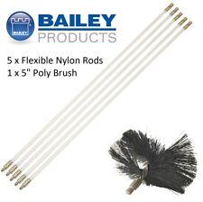 "Brand New Bailey Flexible Nylon Chimney Sweep Flue Set - 5 Rods & 5"" Poly Brush"