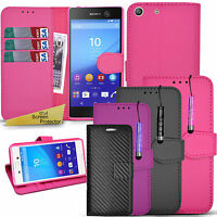 For Sony Xperia M5 E5603 -Wallet Leather Case Flip Cover + Screen Protector