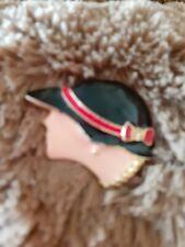 Face Cloche Hat Enamel Brooch 1920s Lady&# 00004000 039;s