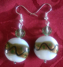 Lampwork drop dangle, silver plated earrings, white/gold, green crystal (365)