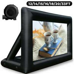 12-33FT Inflatable Movie Projector Screen Seamless Portable Bag with Blower 16:9