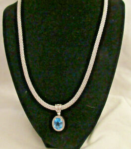 Beautiful Sterling Silver .925 Necklace with Blue Topaz Clipon Pendant w/CZ MZ