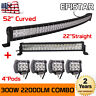 """Curved 52Inch LED Light Bar + 22in +4"""" 18W PODS OFFROAD SUV 4WD SUV VS 52/42/20"""