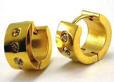Edelstahl klapp CREOLEN Ohrringe Gold mit Klar Zirkonia stein Ø 1,3 cm