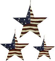 Metal Barn Star Patriotic Hanging Wall Decor, Rustic American Flag Metal Star