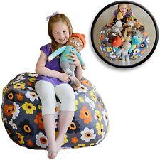 "Creative QT Stuff 'n Sit - Stuffed Animal Storage Bean Bag - 38"", Grey Floral"