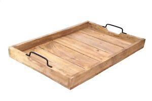 Großes Tablett Serviertablett Holztablett Dekotablett Griff Henkel Shabby Holz