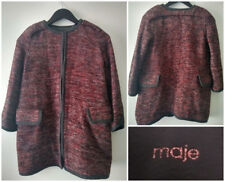 Maje Designer Tweed Coat Stunning Red Black & White Size 1 Wool Blend