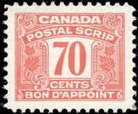 Canada Mint H 1967 VF Scott #FPS56 Third Issue Postal Scrip 70c Stamp