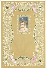 LETTERINA DI NATALE Anni '50 Carta pergamena decorata con applicazione nuova