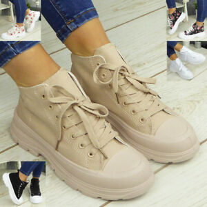 Ladies Trainers Shoes Sneakers Lace Up Womens Fashion Plimsole Pumps Boots Sizes