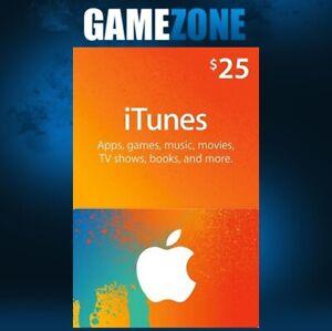 iTunes Gift Card $25 USD USA Apple iTunes Code 25 Dollars United States Digital