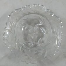 bd Vtg Etched Floral Leaf Glass Scalloped Footed Bowl Unmarked Duncan Miller