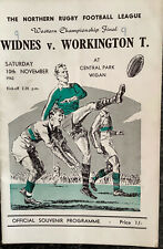 RUGBY LEAGUE CHAMPIONSHIP NORTHERN  FINAL PROGRAMME WIDNES V WORKINGTON 1962