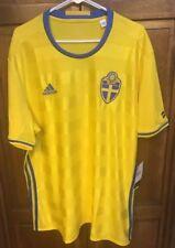 adidas Sweden SvFF Home Jersey Football Soccer Yellow Stripe Men XXL 2XL NWT New