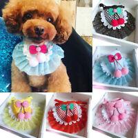 KQ_ Pet Cats Dog Puppy Cute Lace Bandana Bibs Scarf Saliva Towel Neckerchief Tre