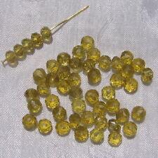 Lot de 50 Perles Facettes Rondelles 6mmx4mm Cristal VERT KAKI Verre Taillé VT4.7