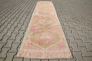 Long runner rug 3x12 turkish runner oushak rug antique, vintage, 2'9x11'5Ft 6118