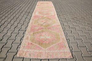 Long runner rug 3x12 turkish runner oushak rug antique, vintage, 2'9x11'5Ft 6118