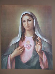 Catholic Print Picture IMMACULATE HEART of MARY  by La Fuente 12 1/2 x 16""