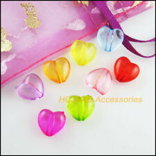 60Pcs Clear Mixed Acrylic Heart Spacer Beads Charms 10x10.5mm