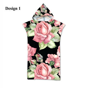 Chic Rose Flower Floral Adult Teen's Hooded Surf Bath Swim Beach Poncho Towel