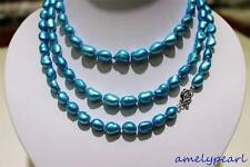 long  freshwater pearl necklace Turquoise Blue Baroque 9x11mm 120cm metal clasp
