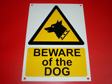 Beware Of The Dog A5 Pre-Drilled Plastic Sign Silk Screen Printed Security