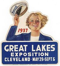 """VINTAGE 1937 """"GREAT LAKES EXPOSITION"""" CENTENNIAL WINDOW DECAL ART CLEVELAND OHIO"""