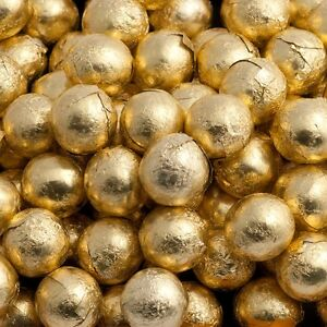 100 GOLD FOILED MILK CHOCOLATE BALLS WEDDING FAVOURS