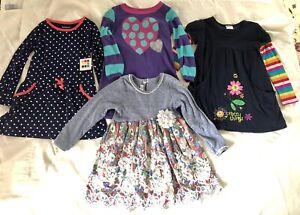 Lot Of 4 Dresses Girls 4t Long Sleeves Bonnie Jean Healthtex Rainbow Polka Dots