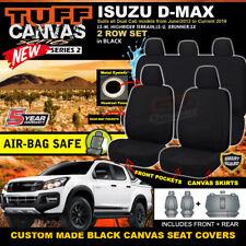 TUFF Canvas S2 BLACK Seat Covers Isuzu DMAX Dual Cab LS-U 2ROW 6/2012-19 D-MAX