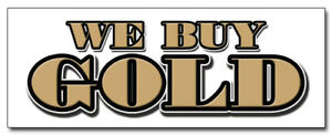 "36"" WE BUY GOLD Window Decal pawn jewelry dealer sign cash for sticker"