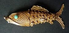 Poisson pendentif boite aiguilles en vermeil argent massif bijou silver fish