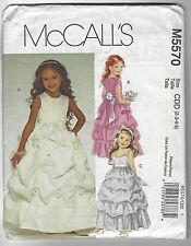 McCall's Flower Girl Sunday Dress Pattern 5570 Sz 2 3 4 5 Fitted Bodice UNCUT