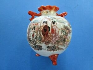 Kutani 3 Legged Hand Painted  and Signed Bulb Vase